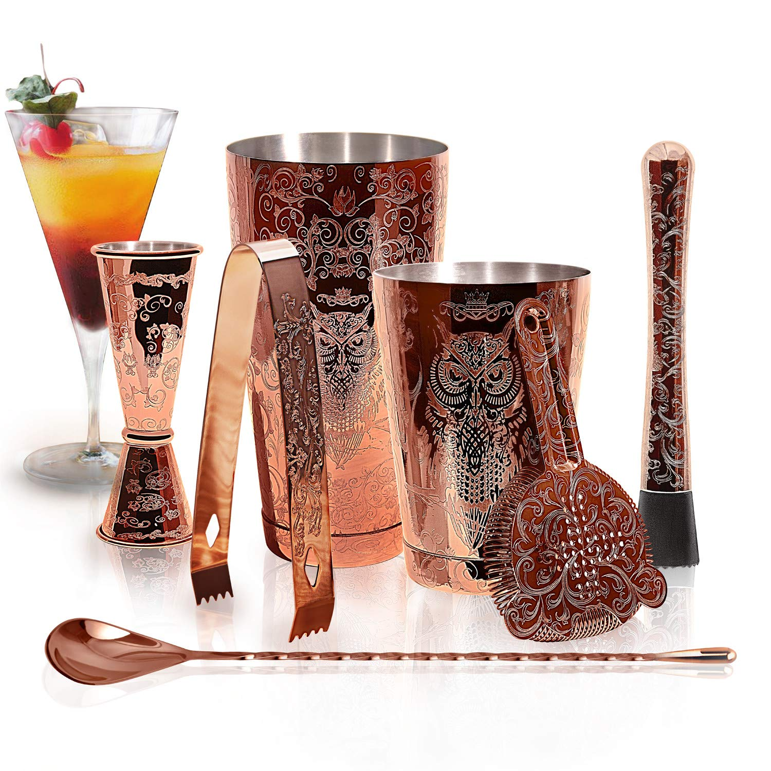 SKY FISH Bartender Kit Cocktail Shaker Set-6 Pieces Stainless Steel Copper Plated Etching Bar Tools With Boston Shaker Tins,Mixing Spoon,Mojito Muddler,Jigger,Hawthorne Strainer,Ice Tongs
