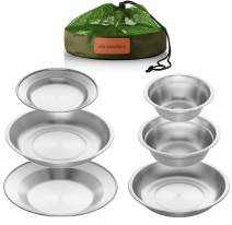 Wealers Stainless Steel Plates and Bowls Camping Set Small and Large Dinnerware for Kids, Adults, Family | Camping, Hiking, Beach, Outdoor Use | Incl. Travel Bag