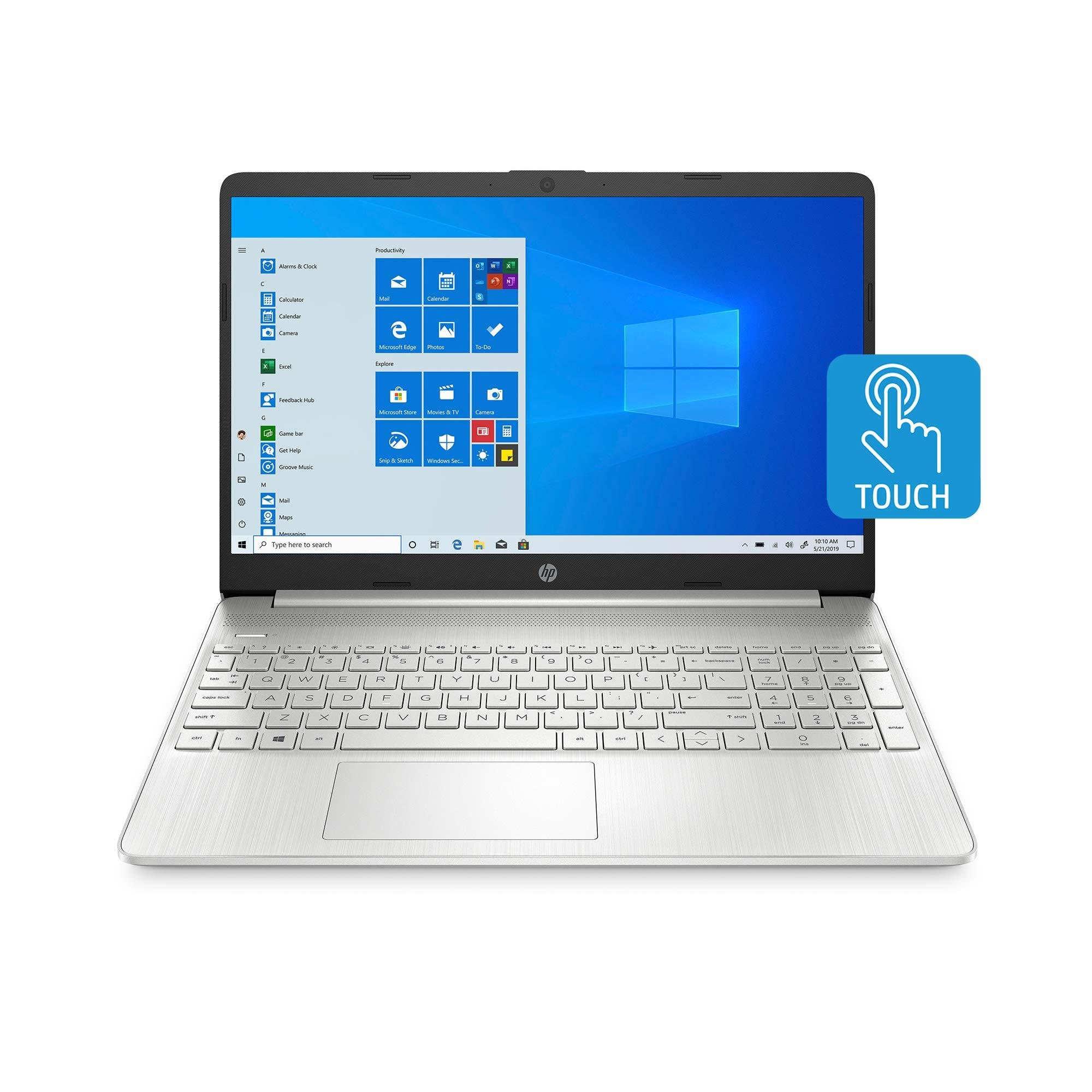 HP 15-inch Touchscreen Laptop, AMD Ryzen 3 3250U, 8 GB RAM, 256 GB SSD, Windows 10 Home in S Mode (15-ef1020nr, Natural Silver)