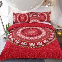 Sleepwish Elephant Mandala Duvet Cover Red Bohemian Bedding Hippie Bed Set Elephant Tapestry Bedding - King