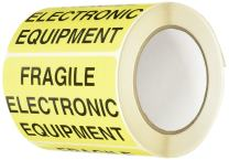 """TapeCase Shipping Packing Labels""""Fragile Electronic Equipment"""", Yellow/Black - 500 per Pack (1 Pack)"""