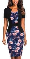 Mmondschein Women's Short Sleeve Colorblock Sheath Pencil Business Church Dress Blue Flower XXL
