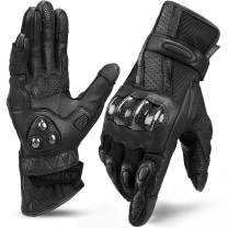 INBIKE Leather Motorcycle Gloves with Carbon Fiber Hard Knuckle Touch Screen for Women All Black Medium