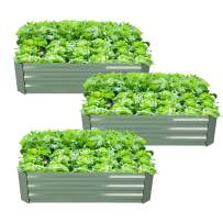 3-Pack OutoorRaised Garden Bed Galvanized Planter Box Anti-Rust Coating Planting Vegetables Herbs and Flowers for Outdoor Use Cama de jardín