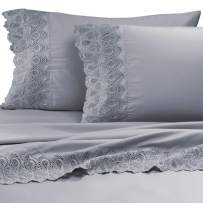 """AURAA Smart 600 Thread Count Cotton Rich, 4 Piece Sheet Set, 16"""" Deep Pocket, LACE Hem, Smooth & Soft Sateen Weave, Hotel Quality (Charcoal, King)"""