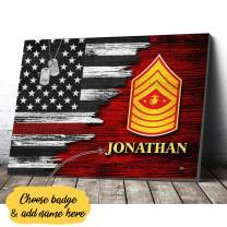 VTH Global Personalized Custom Name United States Marine Corps Officer Rank US Army Military Soldier American Flag Canvas Prints Wall Art Hanging Poster Home Decor
