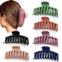 ALINICE Big Hair Claw Clips 4.3 Inch Nonslip Large Claw Clip for Women and Girls Thin Hair, Strong Hold Hair Clips for Thick Hair, 6 Color Available (6 PCS)