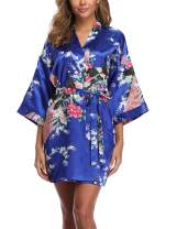 Sueshop Women's Floral Satin Robe Short Silk Bridal Robe Printing Peacock Kimono Sleepwear