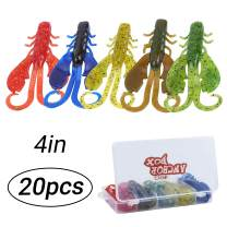 RUNCL Anchor Box - Crawfish Baits, Creature Baits, 20/25/30/35/40pcs Soft Fishing Lures - 2 Huge Pinchers, Various Appendages, Weedless Design - 2/3/4in, Several Proven Colors