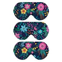 Pack 3 Camo Camouflage Pattern Sleep Eye Masks for Men Women Floral Flower Sleeping Mask (Flower 05)