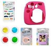 Fujifilm Instax Mini 8/9 Bundle, 1 Silicone Instax Mini 8/9 Case, 4 Color Lenses, 1 Selfie Lens, 3 Photo Frames, 30 Stickers, (Hot Pink)