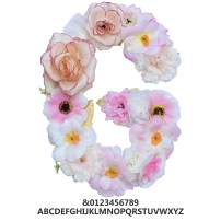 """ZHENHAN Artificial Pink Floral Decorative Letter, Alphabet Letter with Fake Flowers for Special Occasion/Event, 7.9""""x5.5""""x1.1"""", for Bedroom/Living Room/Corridor/Front Door (Letter, G)"""