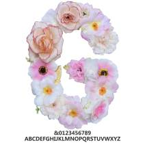 "ZHENHAN Artificial Pink Floral Decorative Letter, Alphabet Letter with Fake Flowers for Special Occasion/Event, 7.9""x5.5""x1.1"", for Bedroom/Living Room/Corridor/Front Door (Letter, G)"