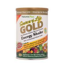 NaturesPlus Source of Life Gold Energy Shake - .97 lbs, Vegetarian Drink Mix - Tropical Berry Flavor - Whole Food Vitamin, Mineral & Protein Powder - with Probiotics - Gluten-Free - 13 Servings