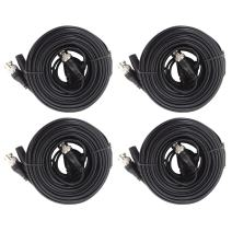 TIGERSECU 4 Pack 60-Feet (18 Meters) BNC Video Power Cables for CCTV Security Camera and Surveillance Systems (4-Pack, Black)