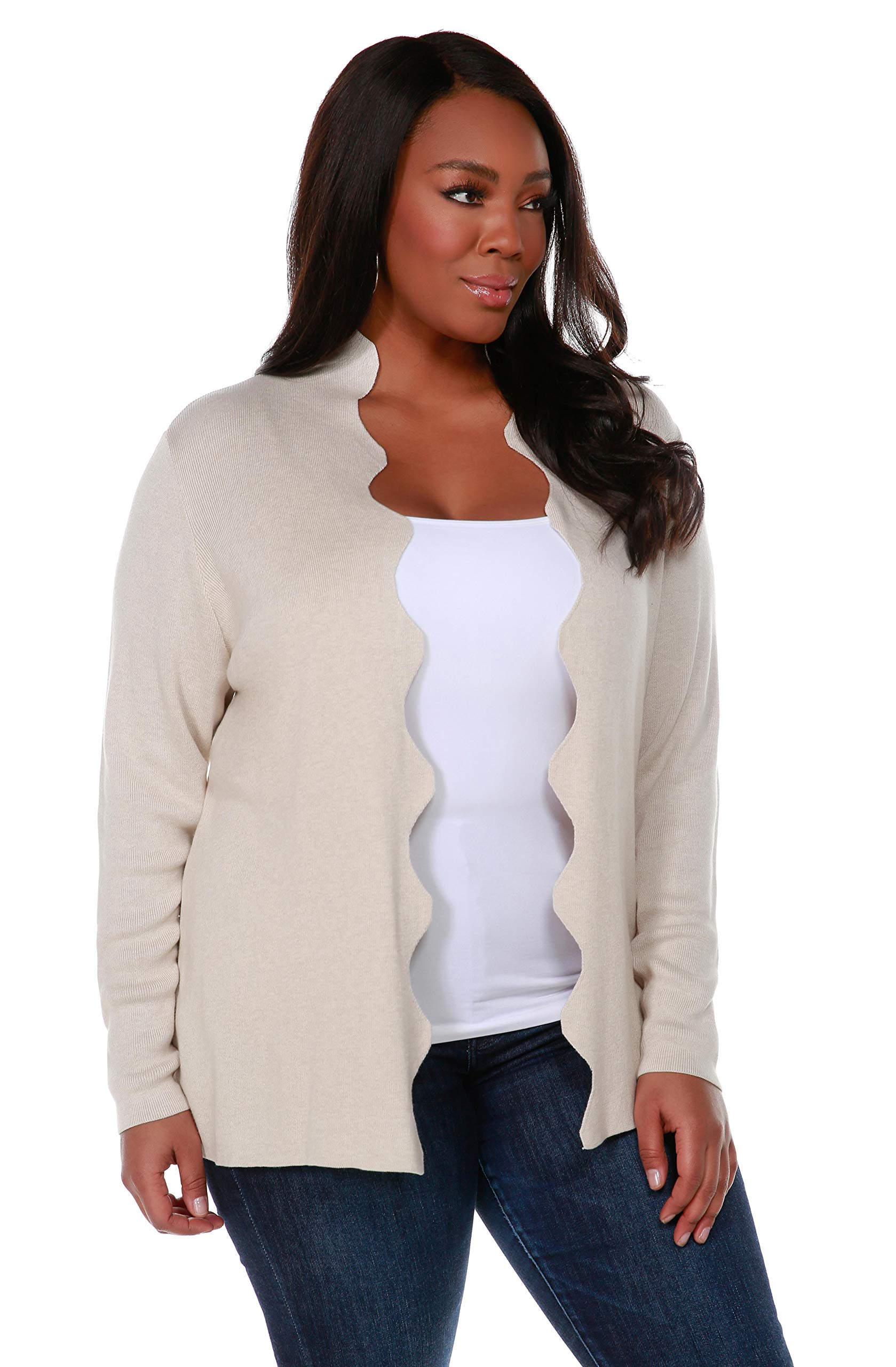 Belldini Women's Fashion, Plus Size, Long Sleeve Open Cardigan with Scallop Front