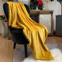 LOMAO Flannel Blanket with Pompom Fringe Lightweight Cozy Bed Blanket Soft Throw Blanket fit Couch Sofa Suitable for All Season(Mustard Yellow, 60''x 80'')