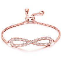 LADY COLOUR Mother's Day Jewelry Gifts, Endless Love Adjustable 7-9 Inch Infinity Bangle Women Bracelets, Made with Swarovski Crystals Hypoallergenic Jewelry Gift BoxPacking, Romantic Gift for Her