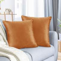 """Nestl Bedding Throw Pillow Cover 26"""" x 26"""" Soft Square Decorative Throw Pillow Covers Cozy Velvet Cushion Case for Sofa Couch Bedroom, Set of 2, Rust Orange Brown"""