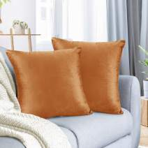 """Nestl Bedding Throw Pillow Cover 24"""" x 24"""" Soft Square Decorative Throw Pillow Covers Cozy Velvet Cushion Case for Sofa Couch Bedroom, Set of 2, Rust Orange Brown"""