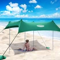 UMARDOO Family Beach Tent with 4 Aluminum Poles, Pop Up Beach Sunshade with Carrying Bag (Green, 7X7 FT)