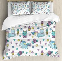 Ambesonne Unicorn Cat Duvet Cover Set, Girls Pattern with Hearts Stars Flowers Ice Cream Funny, Decorative 3 Piece Bedding Set with 2 Pillow Shams, King Size, Blue