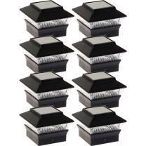 8 Pack Solar Power Square Outdoor Post Cap Lights for 4x4 PVC Posts (Black)