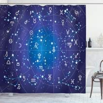 """Ambesonne Astrology Shower Curtain, Constellation of Zodiac and Planets Original Coordinates of Celestial Body Pattern, Cloth Fabric Bathroom Decor Set with Hooks, 84"""" Long Extra, Dark Blue"""