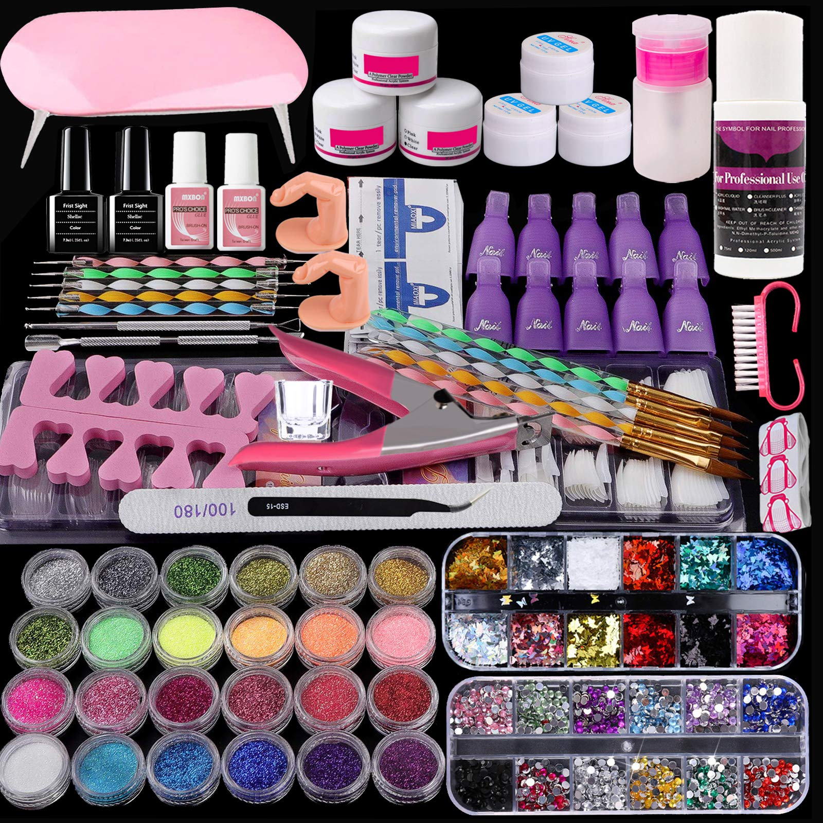 Acrylic Nail Kit Set, COOSA Acrylic Nail Art Decoration Professional DIY Gel Nail Kit with Nail Dryers