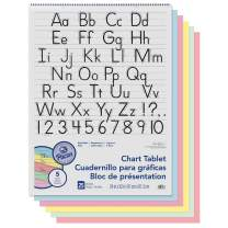 """Pacon PAC74733 Chart Tablet, Manuscript Cover, Assorted 5 Colors Inside, 1-1/2"""" Ruled, 24"""" x 32"""", 25 Sheets"""