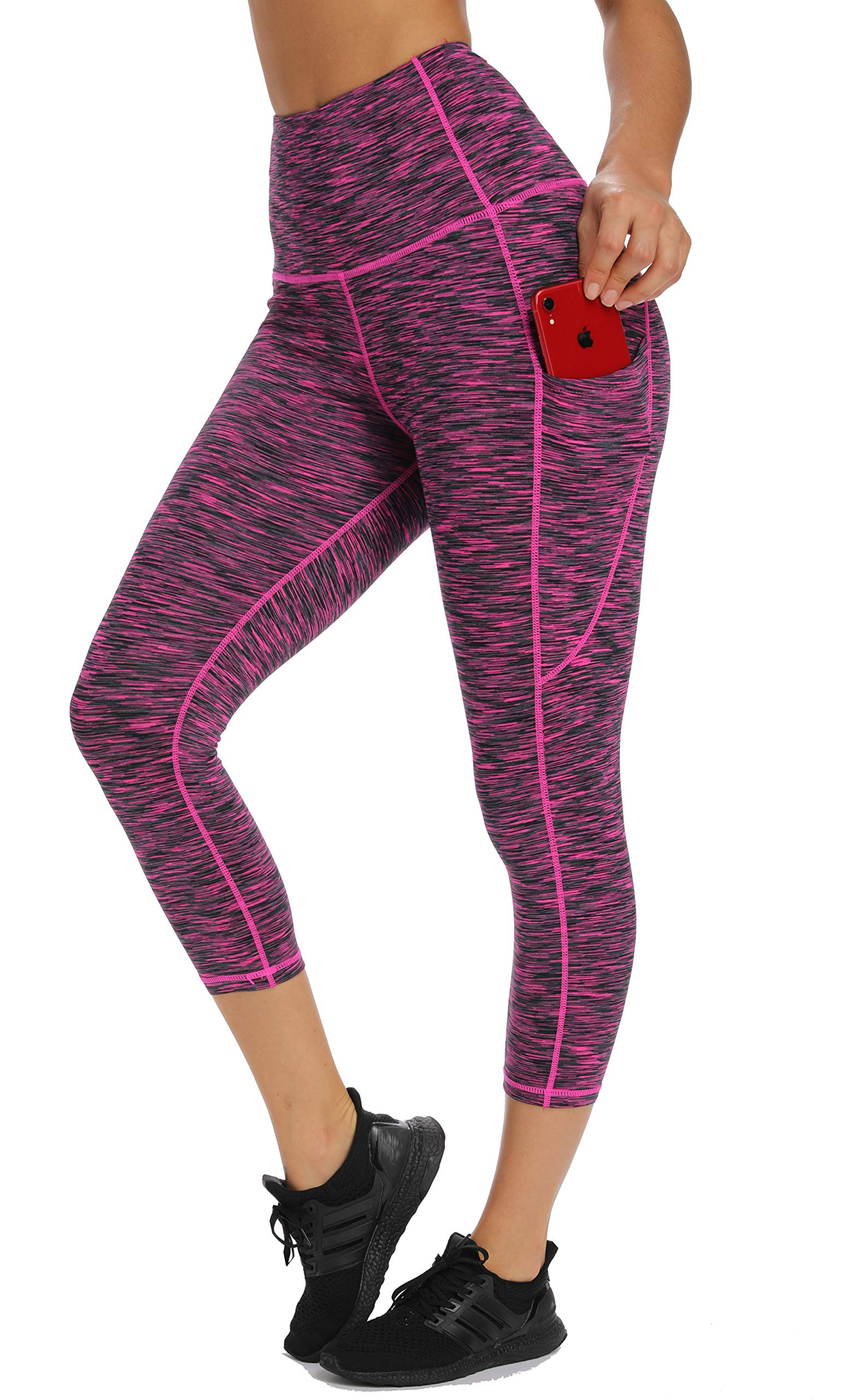 Olacia Womens High Waisted Yoga Capri Leggings Workout Leggings with Pockets