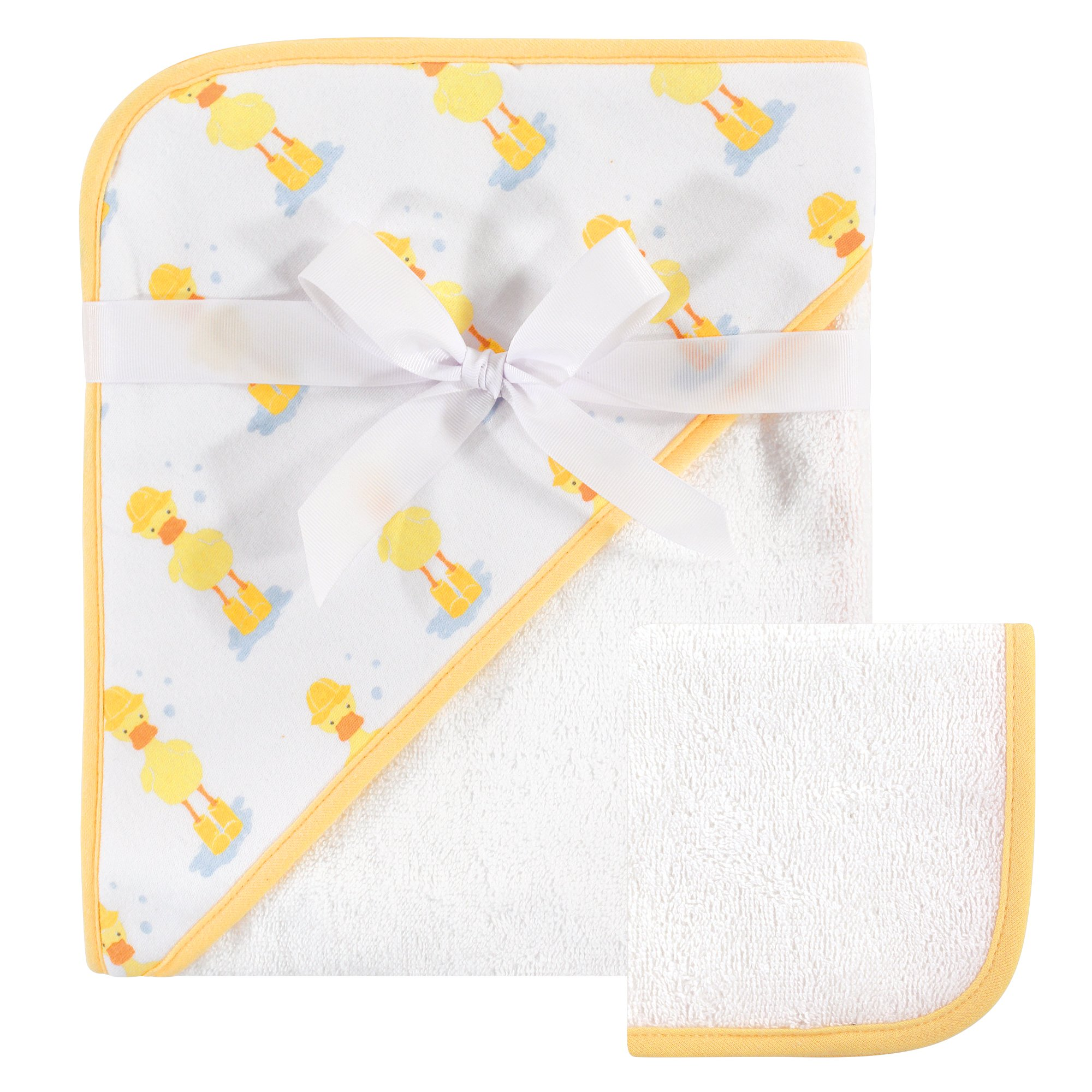 Hudson Baby Unisex Baby Cotton Hooded Towel and Washcloth, Duck, One Size