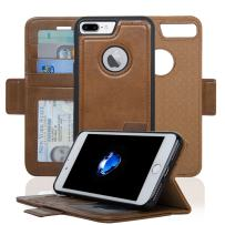 Navor Detachable Magnetic Wallet Case RFID Protection, Logo Hole, Compatible for iPhone 7 Plus [Vajio Series] Brown (IP7PVJBR)