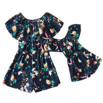 IFFEI Mommy and Me Matching Jumpsuit Dress Off Shoulder Floral Ruffle Printed Casual Short Rompers for Mother and Daughter
