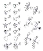 Adramata 10 Pairs 316L Stainless Steel Cartilage Tragus Earrings Barbell Helix Stud Earrings for Women Men Round Ball Cartilage Piercing Set 16G