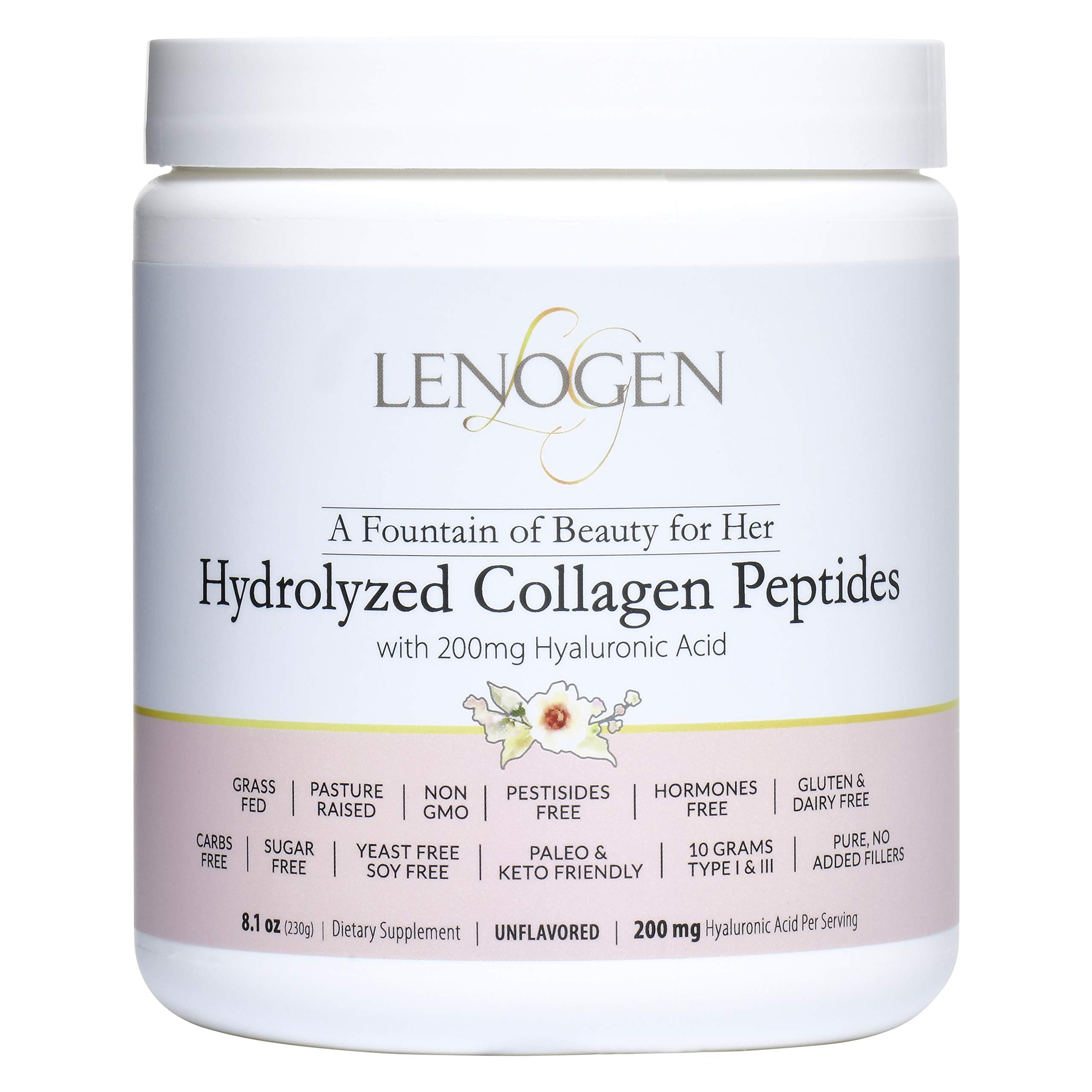 Collagen Powder for Women. Hair Skin & Nails, Grass Fed, Non-GMO, Zero Fillers, Sugar & Carbs Free, Paleo & Keto Diets Friendly, Peptides & Hyaluronic Acid, Bone Broth, 20 Servings-Unflavored.