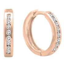 Dazzlingrock Collection 0.25 Carat (ctw) Round White Cubic Zirconia Hoop Earrings 1/4 CT