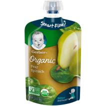 Gerber Organic 2nd Foods, Pears & Spinach Pureed Baby Food, 3.5 Ounce Pouch, 12 count