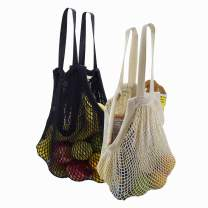 Simple Ecology Organic Cotton Reusable Market, Beach, Grocery Shopping String Bag - Natural & Black Set of 2 (heavy duty, durable hand & shoulder handles, large stretchable tote, foldable, washable)