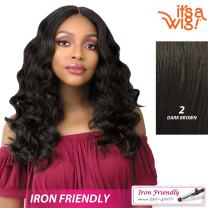 it's a Wig! - Anywhere Lace Part with Natural Finger Wave In Heat Resistant Synthetic Wig - LAILA (2 - DARK BROWN)