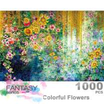 Ingooood- Jigsaw Puzzles 1000 Pieces for Adult- Fantasy Series- Colorful Flowers Watercolor Painting_IG-0406 Entertainment Wooden Puzzles Toys