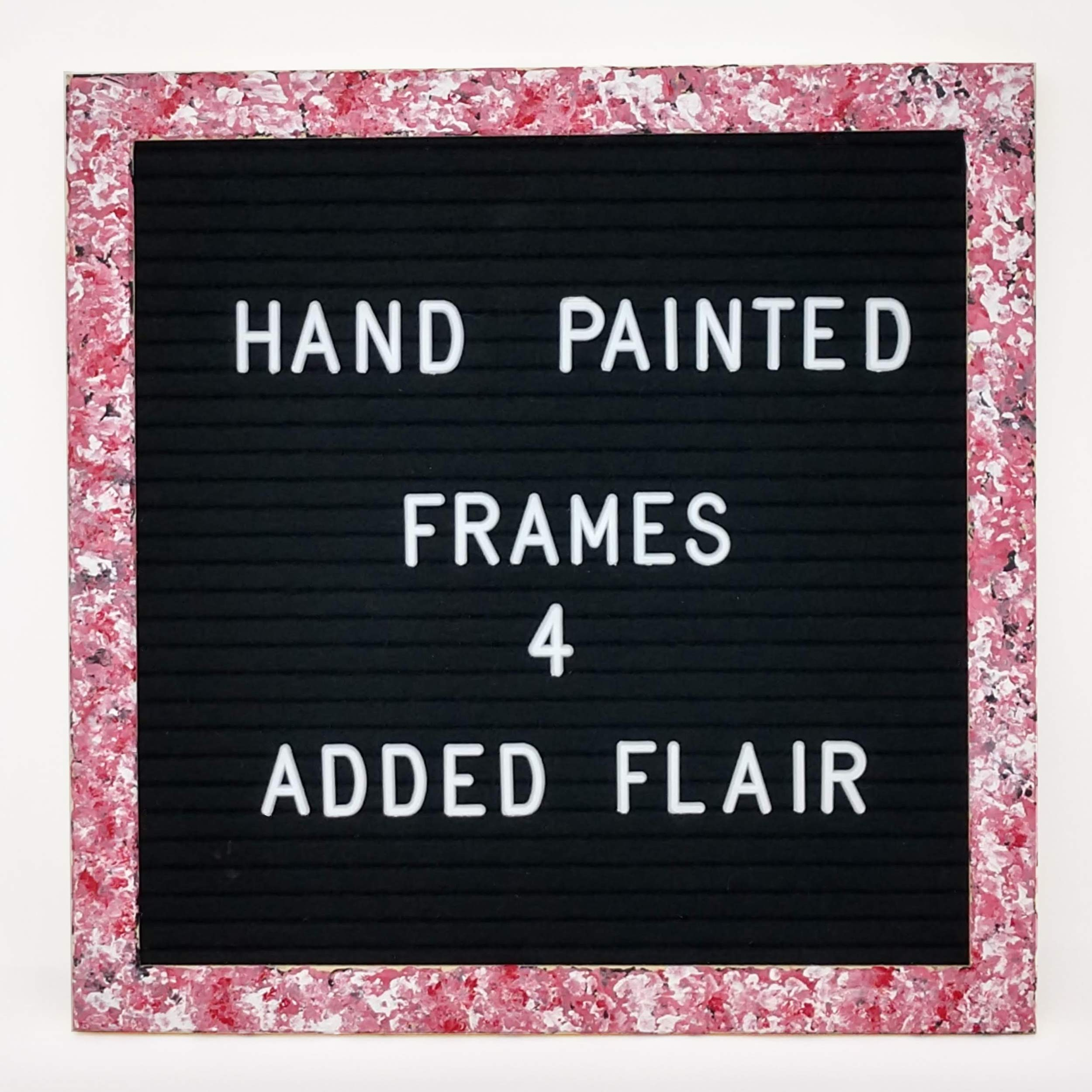 Felt Letter Board Message Board - Announcement Letterboard – 10 x 10 with Hand Painted Frame for Max Impact-Changeable Letter Word Board with Letters Baby Announcement Board (Pink)