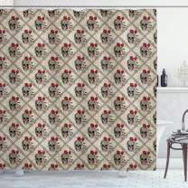 """Ambesonne Skull Shower Curtain, Bones and Roses Vintage Romantic Composition Jolly Roger Themed Illustration, Cloth Fabric Bathroom Decor Set with Hooks, 70"""" Long, Vermilion and Beige"""