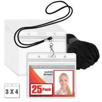 MIFFLIN Lanyard with Clear Horizontal ID Holder (Black, 3x4 Inch, 25 PK), Name Tag with Lanyard Set