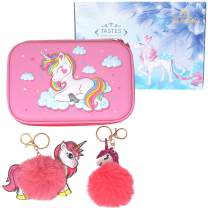 HH Family Llama Unicorn Pencil Case for Girls Hardtop Zipper Pouch with Compartments and 2 Pcs Fur Ball Key Chains (Cute Unicorn C)