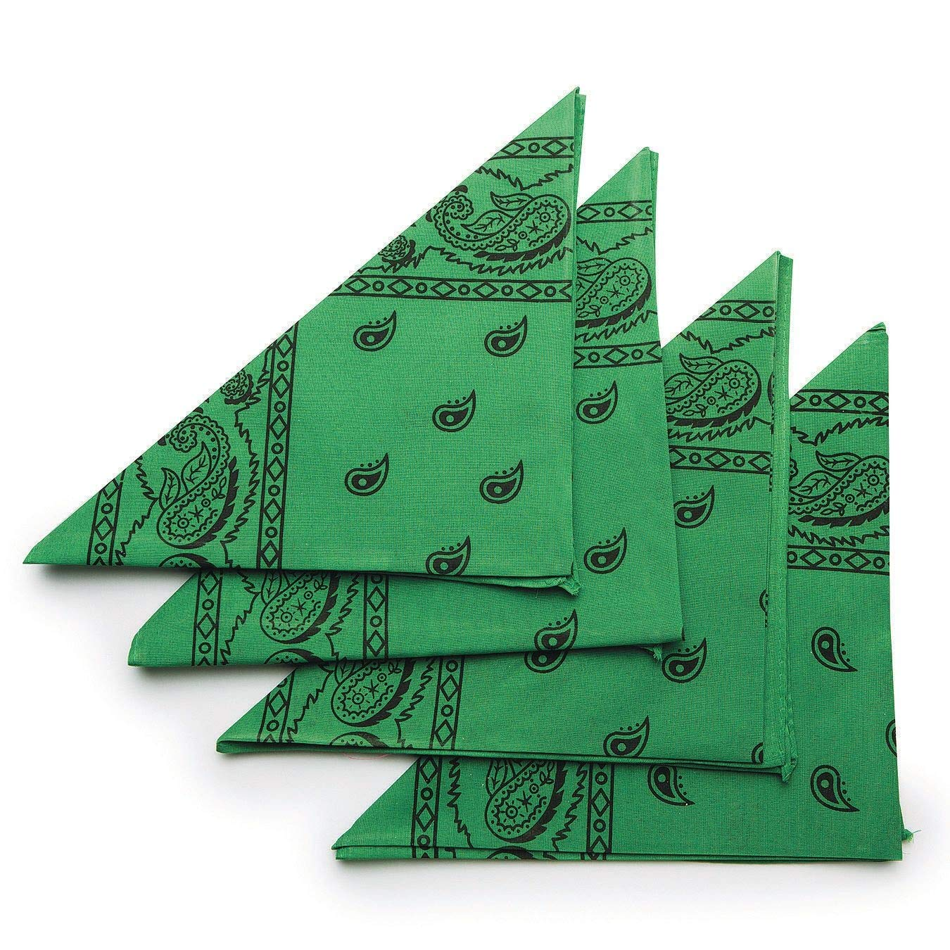 S&S WORLDWIDE Green Bandanas (Pack of 12)