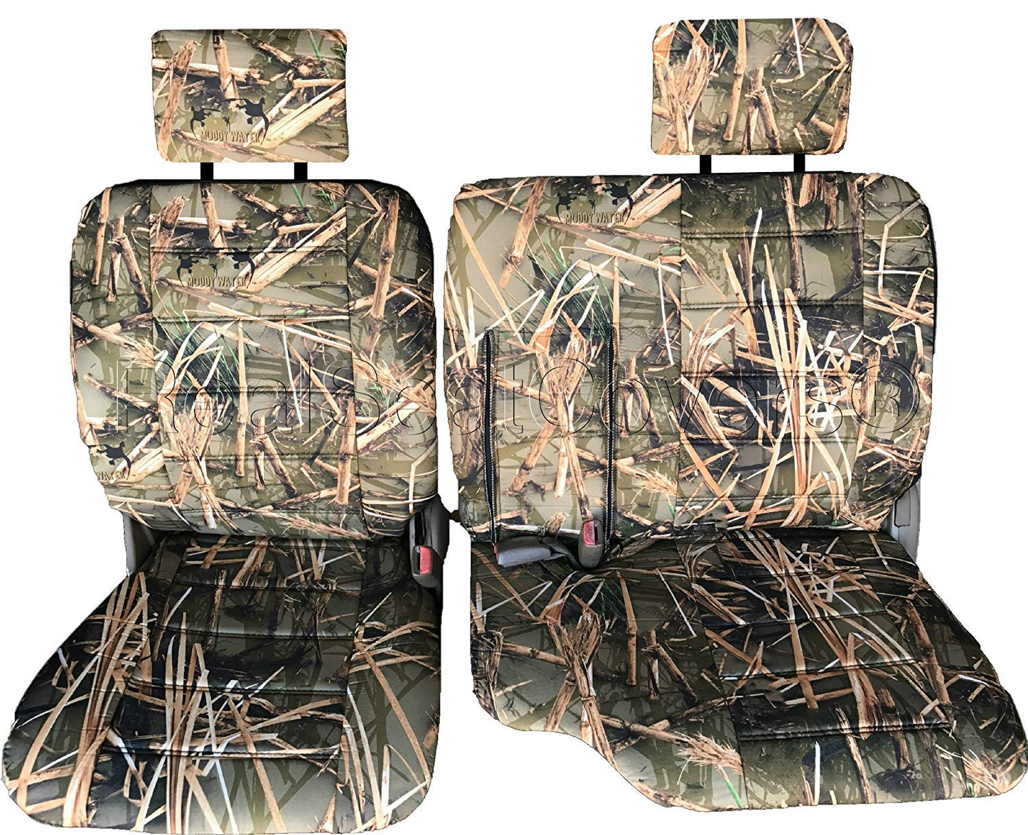 RealSeatCovers for Front 60/40 Split Bench Adjustable Headrest Armrest Belt Cutout Custom Made Exact Fit Seat Cover for Toyota Tacoma 1995-2000 (Muddy Water Camo)