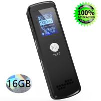 Digital Voice Recorder, Sungluber 16GB Sound Audio Recorder Dictaphone for Lectures Meetings, USB, Rechargeable, Voice Activated, Double Microphone, Metal Casing