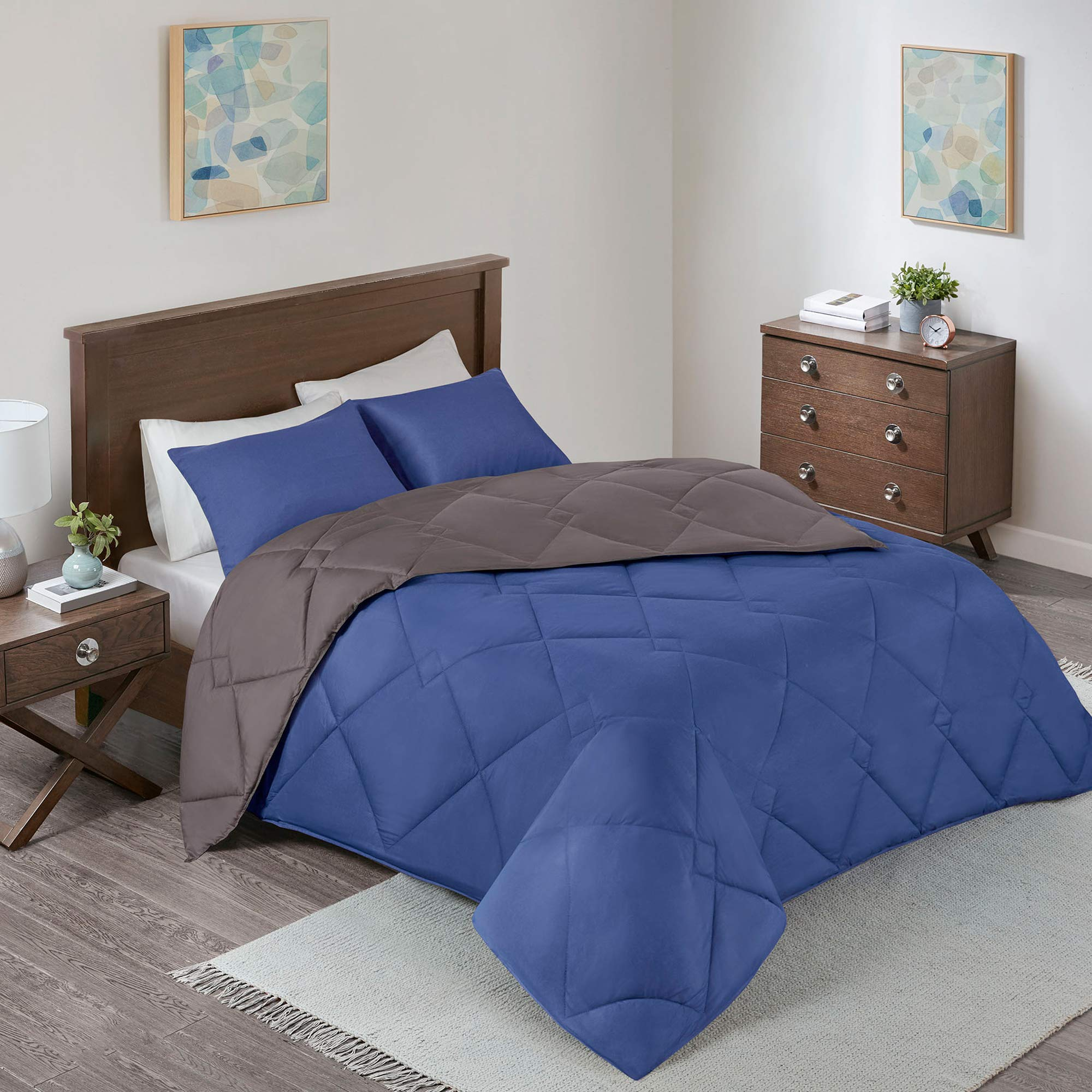 Comfort Spaces Vixie 3 Piece Comforter Set All Season Reversible Goose Down Alternative Stitched Geometrical Pattern Bedding, Full/Queen, Navy/Charcoal