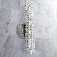 "Divina Modern Wall Light Chrome Hardwired 16 1/2"" Wide Light Bar Fixture Clear Crystal Cylinder for Bathroom Vanity - Possini Euro Design"